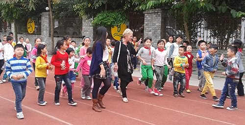 Sheila Walker at a Primary School in Chi Kan, Zhanjiang, Guangdong, China